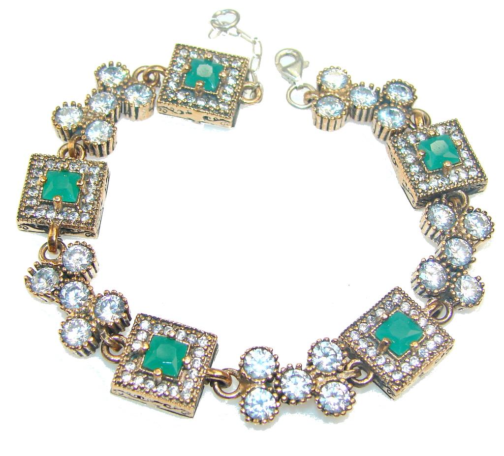 Fantsatic Dreamer Of Emerald Sterling Silver Bracelet