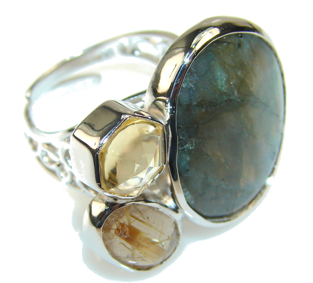 Inspire Labradorite Sterling Silver Ring s. 7 - Adjustable