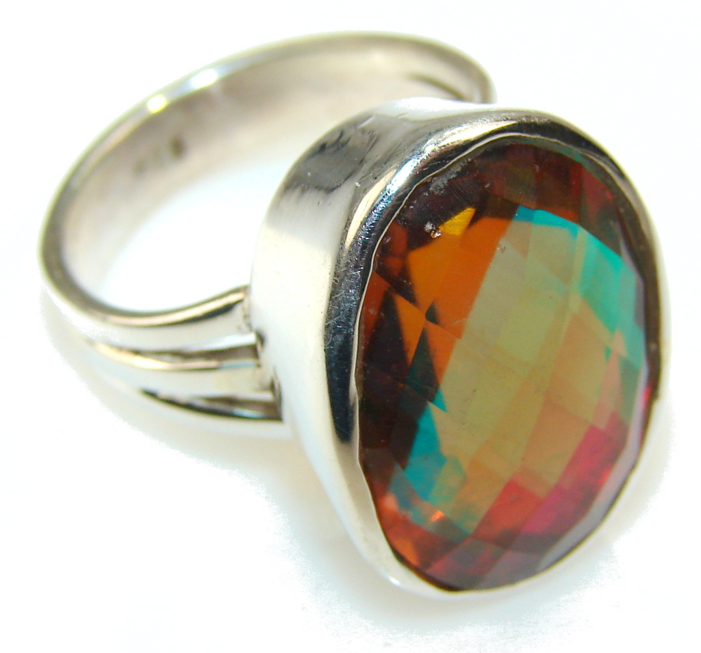 Bring The Heat!! Dichroic Glass Sterling Silver ring s. 7