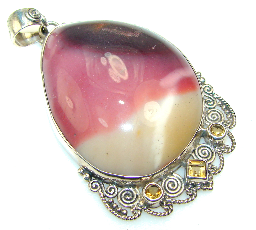 Image of Fabulous Design Of Mookaite Sterling Silver Pendant