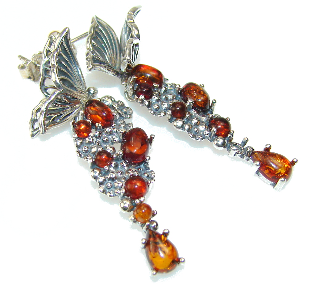 Beautiful Design!! Polish Amber Sterling Silver earrings