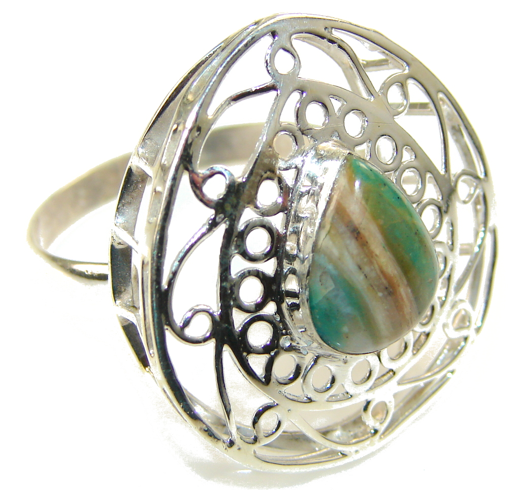 Traditions Chrysoprase Sterling Silver Green Teardrop Filagree Ring