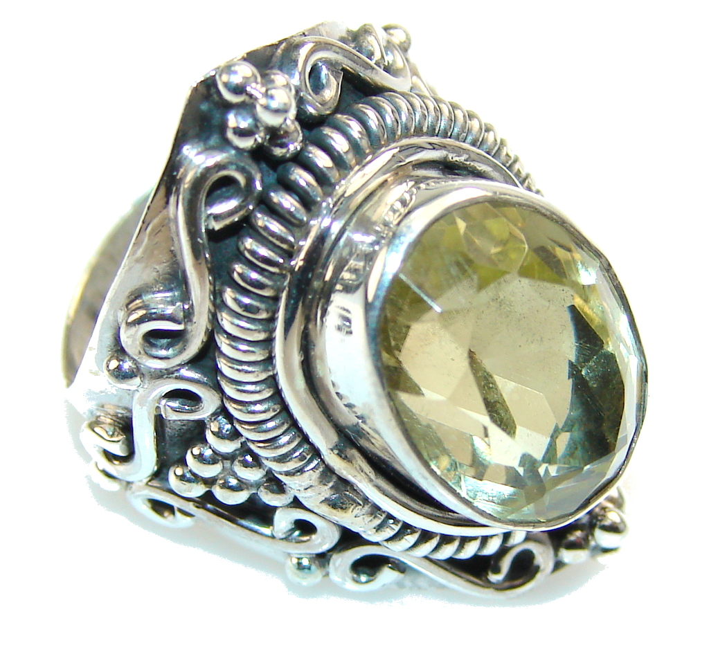 Aura Of Beauty!! Yellow Citrine Sterling Silver Ring s. 8