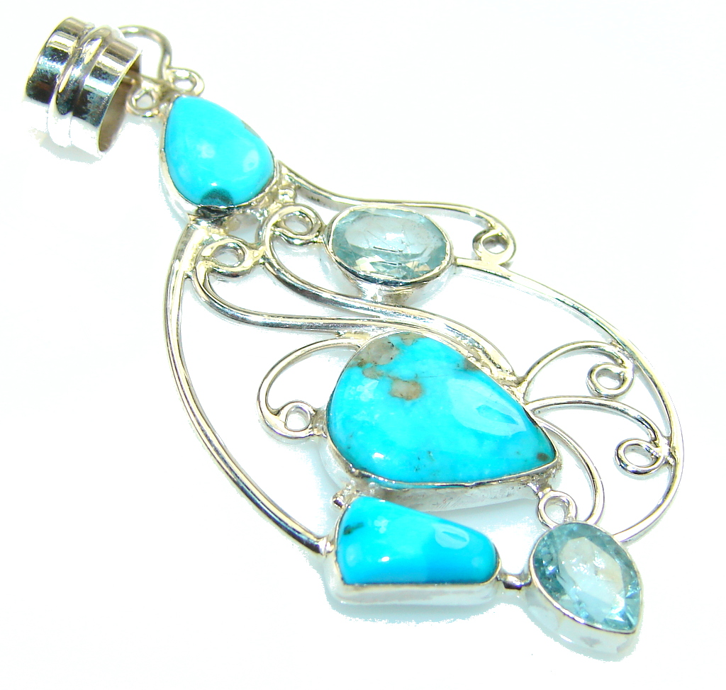 Passion Blue Turquoise Sterling Silver Pendant