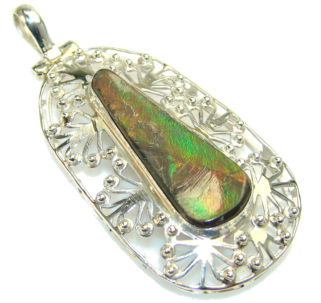 Amazing Ammolite Sterling Silver Pendant