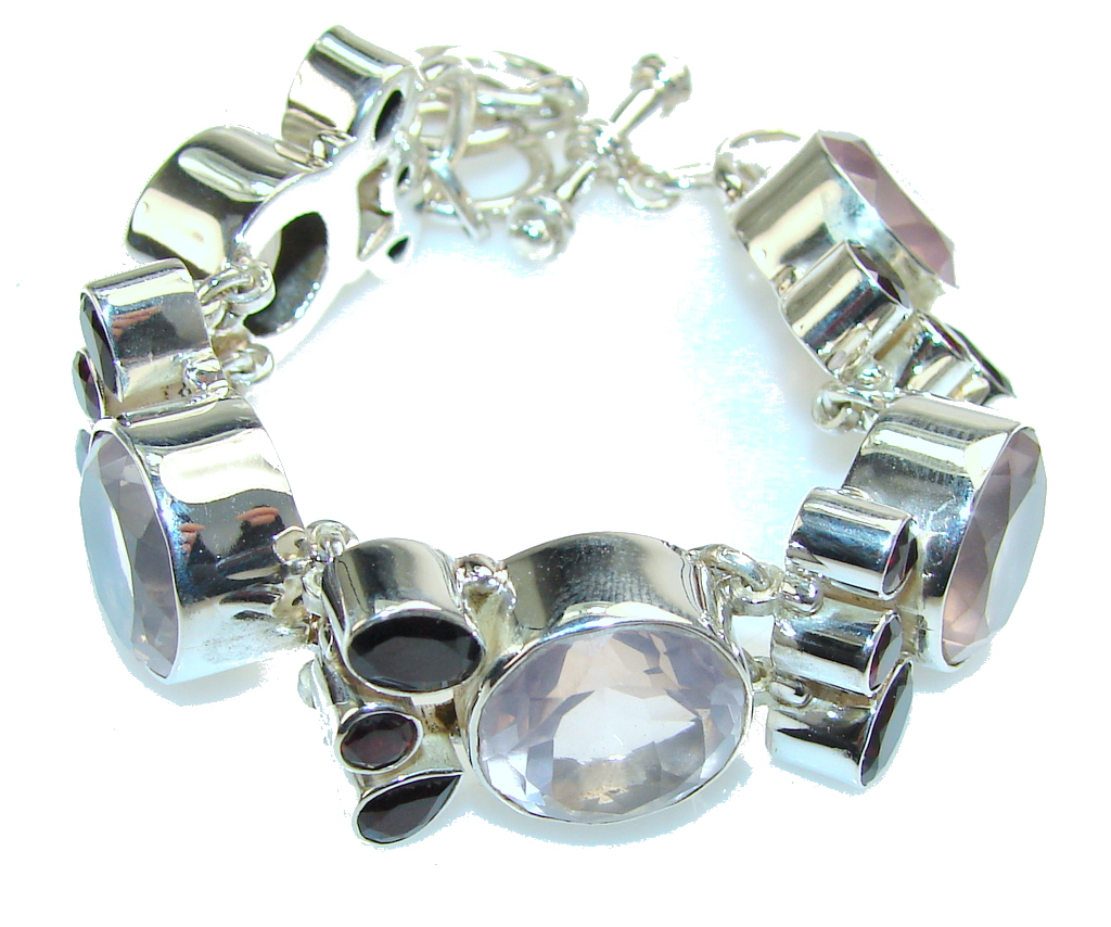 Secret Pink!! Rose Quartz Sterling Silver Bracelet