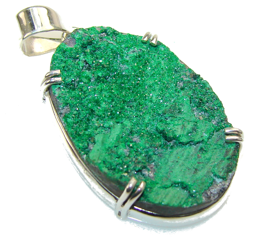 Unique! Green Druzy Emerald Color Sterling Silver Pendant