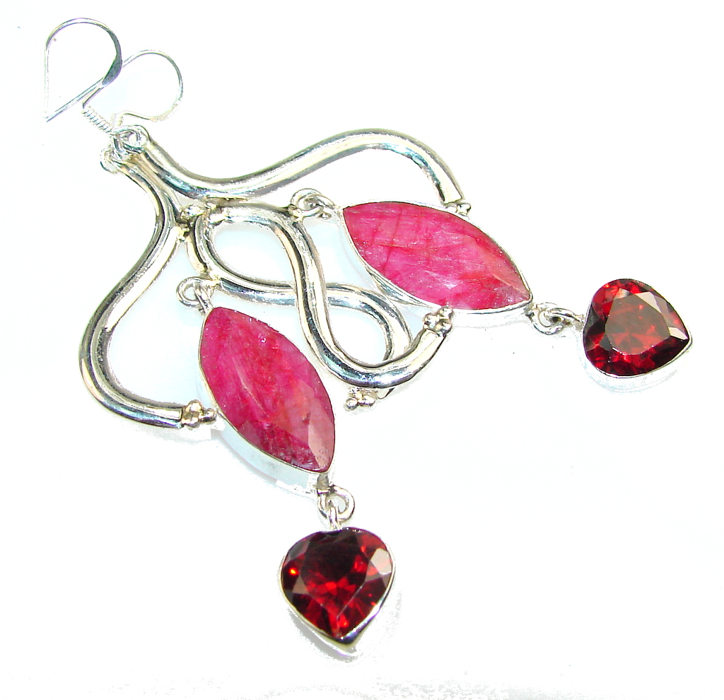 My Sweet!! Pink Ruby Sterling Silver earrings