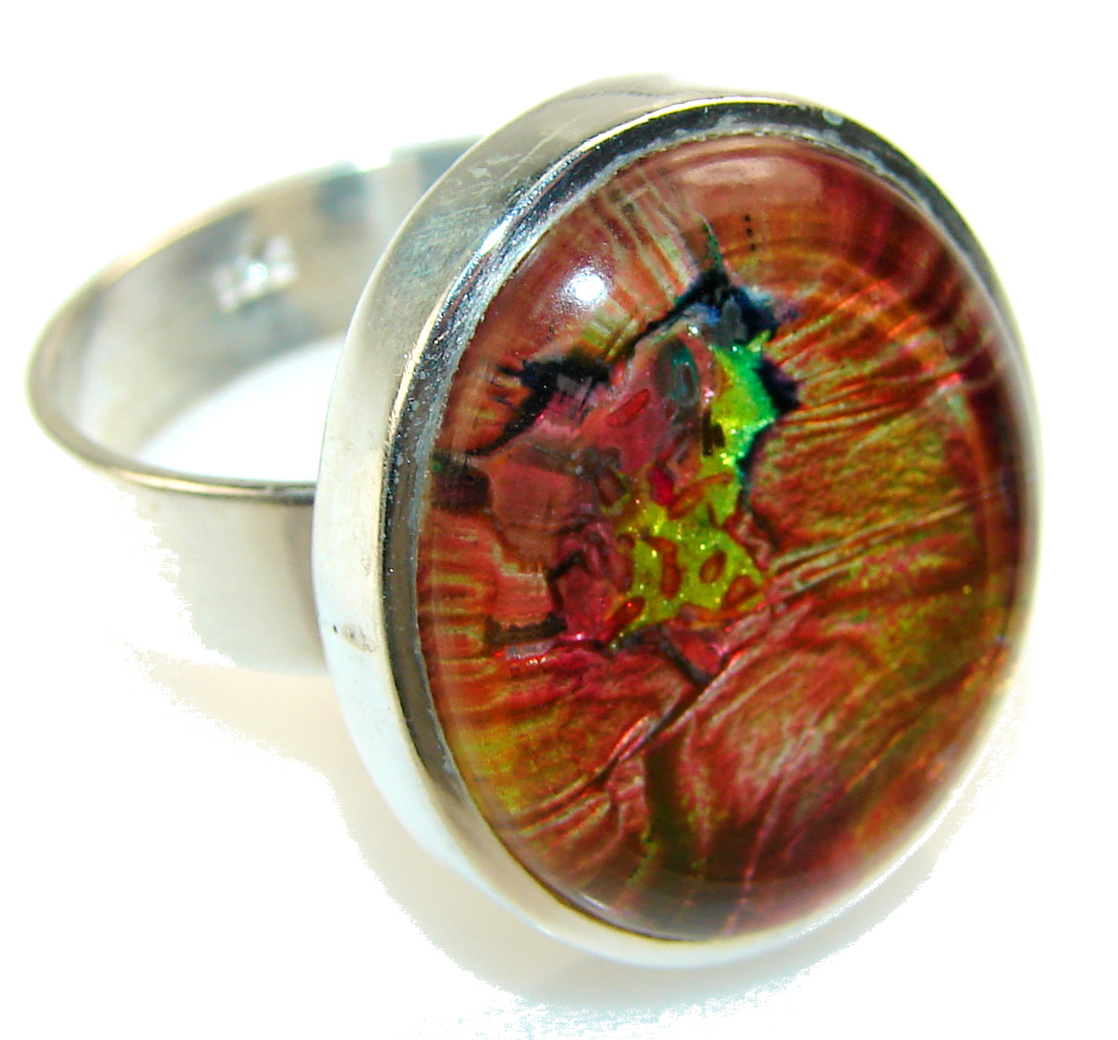Fantastic Dichroic Glass Sterling Silver ring s. 12 1/2