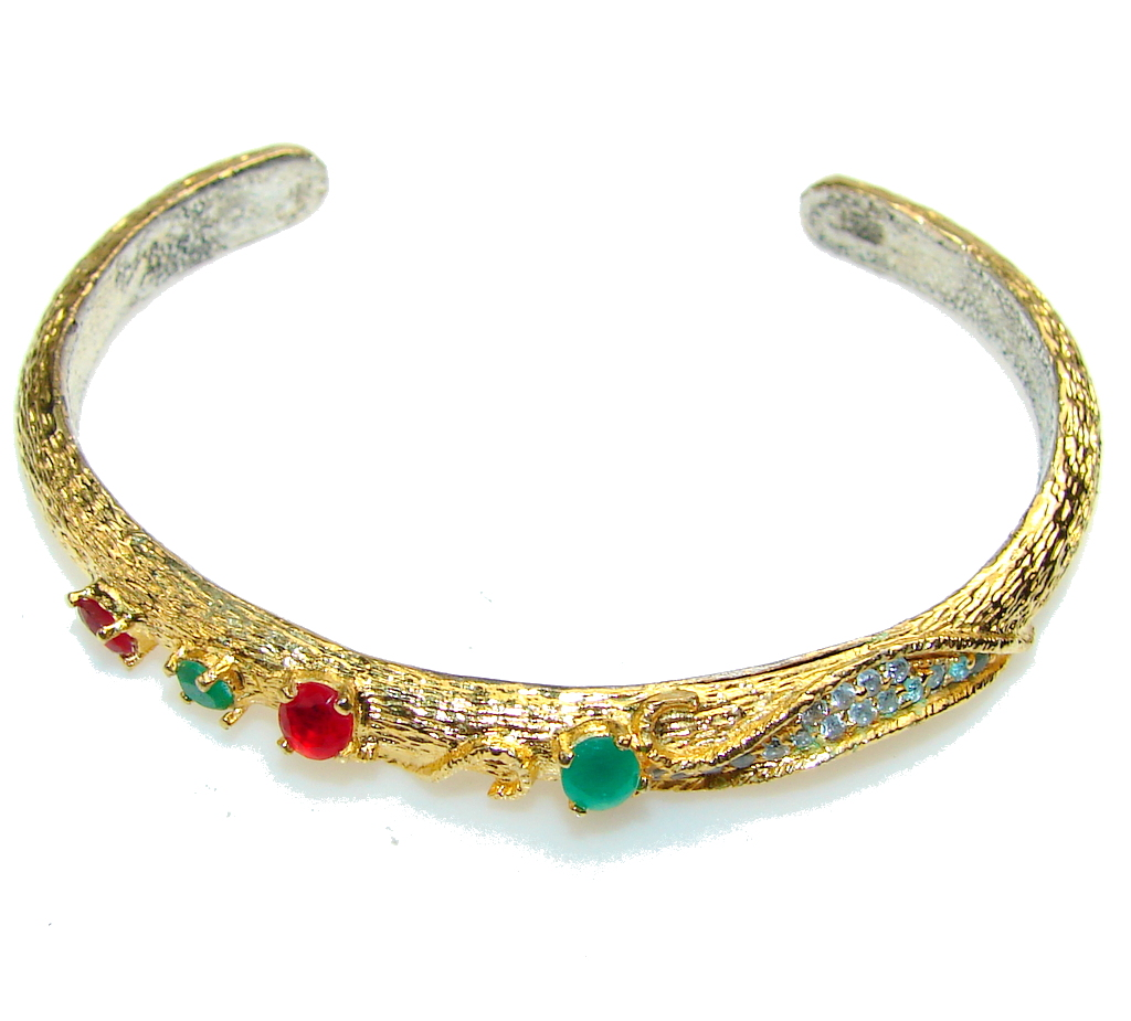 Impression Of Emerald Gold Plated Sterling Silver Bracelet / Cuff
