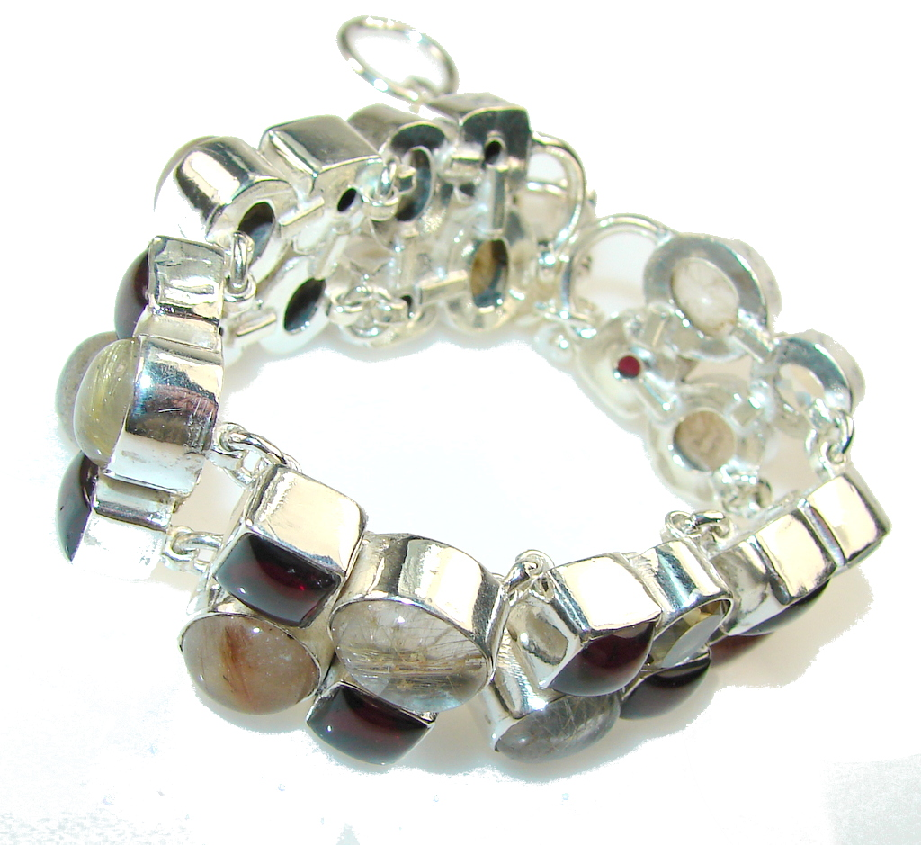 Empress Golden Rutilated Quartz Sterling Silver Bracelet