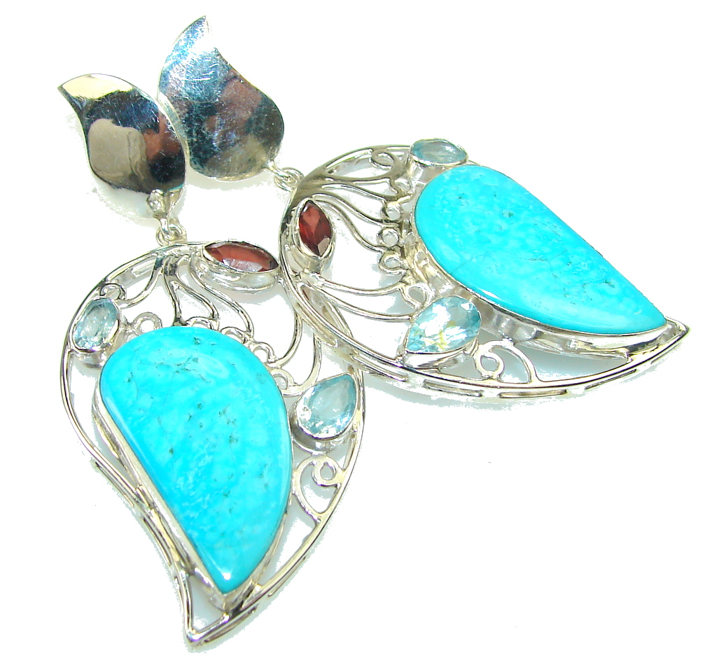 Image of Awesome Color Of Turquoise Sterling Silver earrings