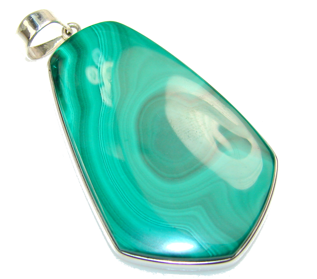 Amazing Color Of Green Malachite Sterling Silver Pendant