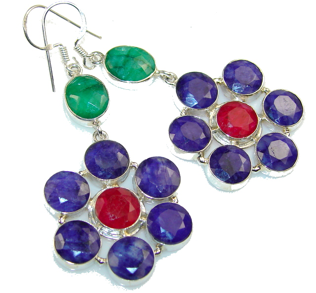 Paradise Bloom!! Sapphire Sterling Silver earrings