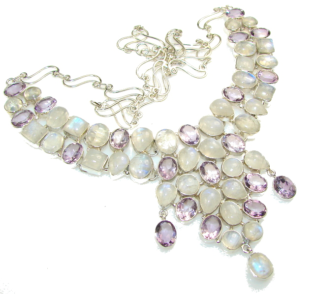Fabulous Design Of Moonstone Sterling Silver necklace