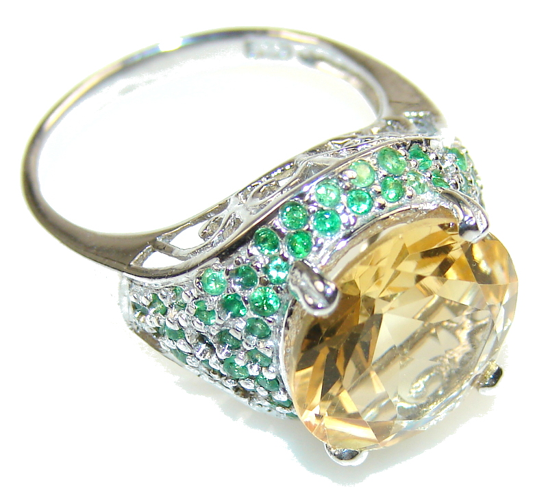 Image of Fabulous Yellow Citrine Sterling Silver Ring s. 7 3/4