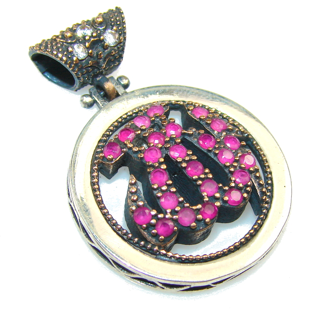Design Pink Ruby Sterling Silver Pendant