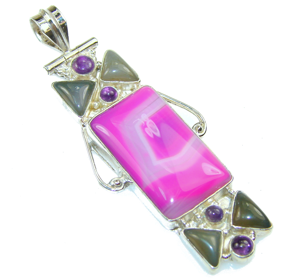Image of Fantastic Color Of Botswana Agate Sterling Silver Pendant