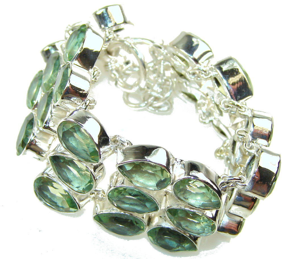 Lime Treasure!! Apatite Quartz Sterling Silver Bracelet
