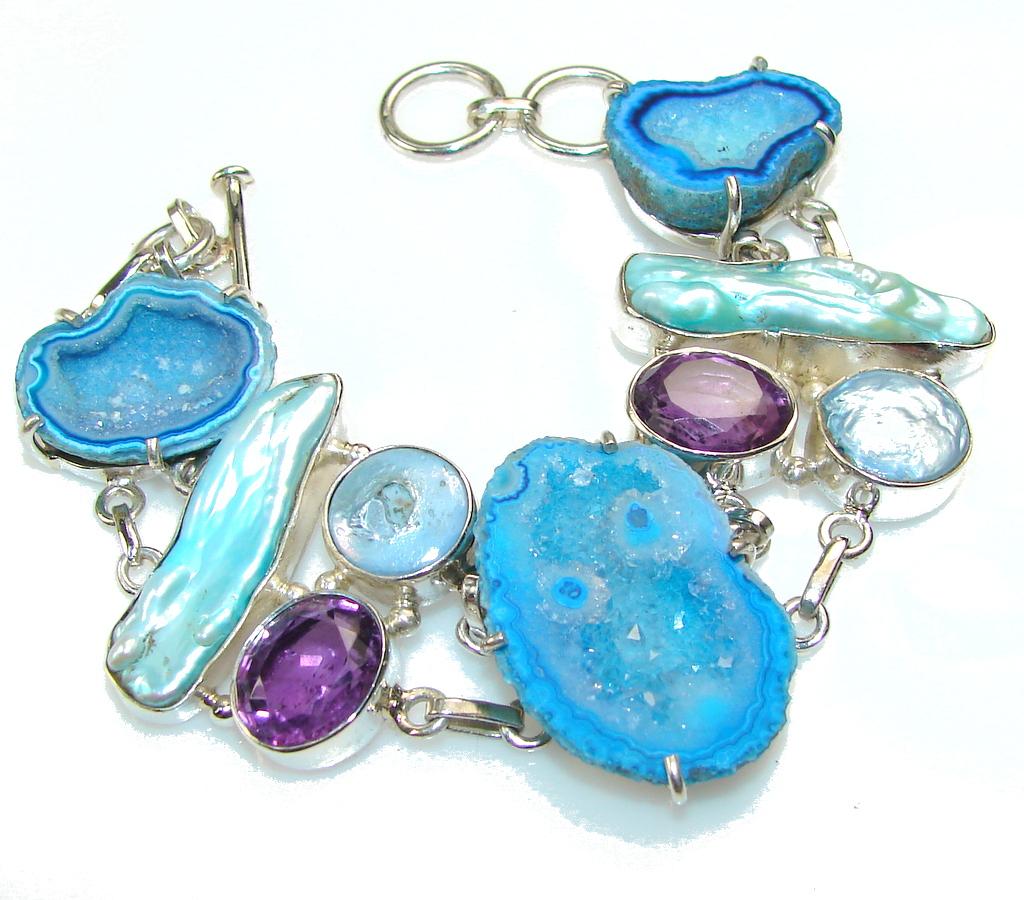Unusal Style Of Agate Druzy Sterling Silver Bracelet