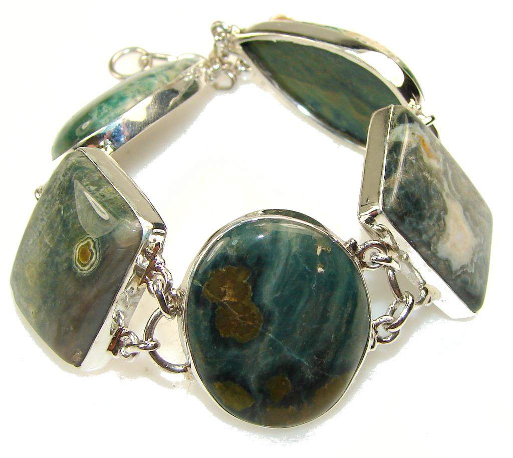 Image of Big!! Excellent Ocean Jasper Sterling Silver Bracelet