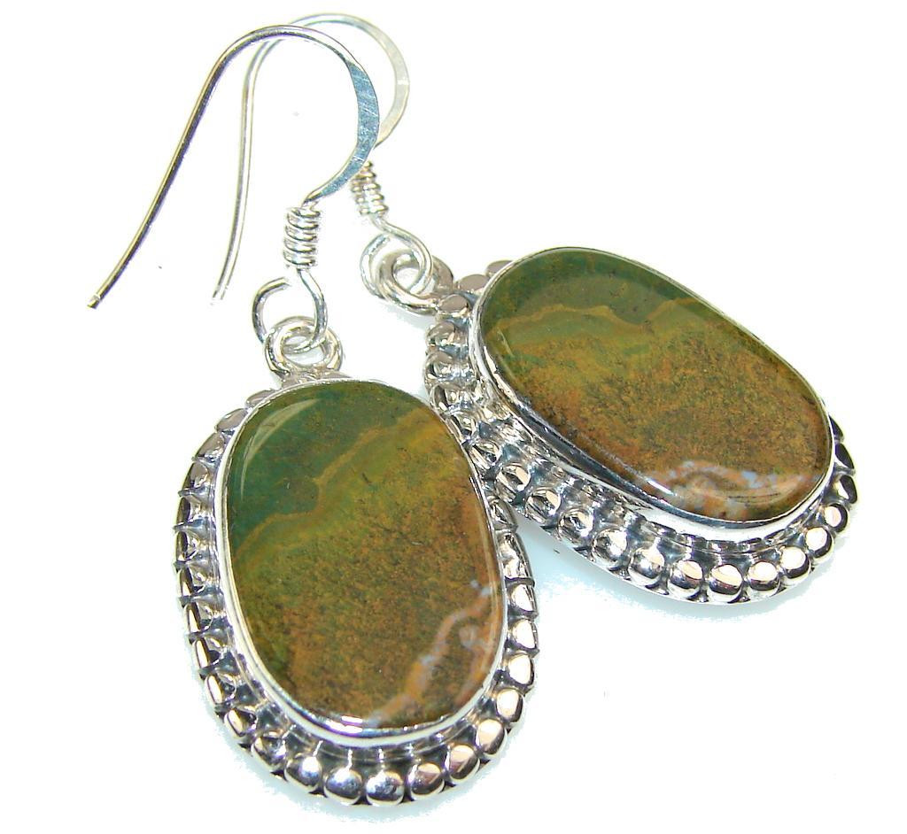 Solid Rainforest Jasper Sterling Silver earrings