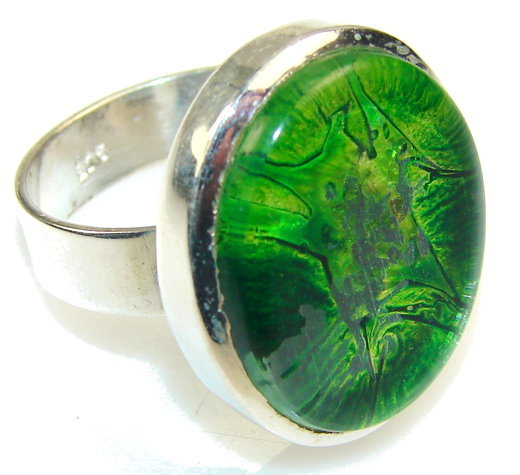 Excellent Green Dichroic Glass Sterling Silver ring s. 11