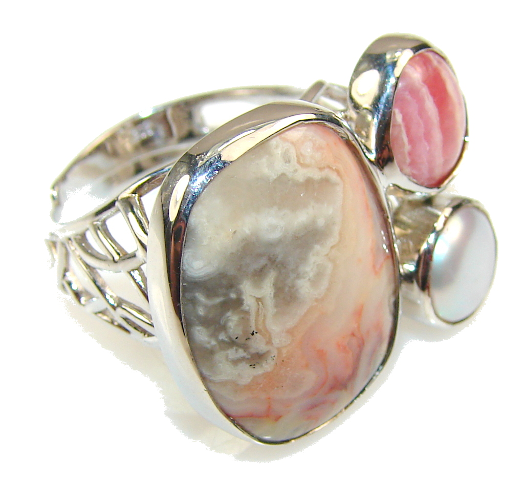 Beautiful Imperial Jasper Sterling Silver Ring s. 8 - Adjustable