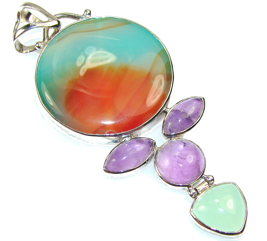 Awesome Color Of Botswana Agate Sterling Silver Pendant