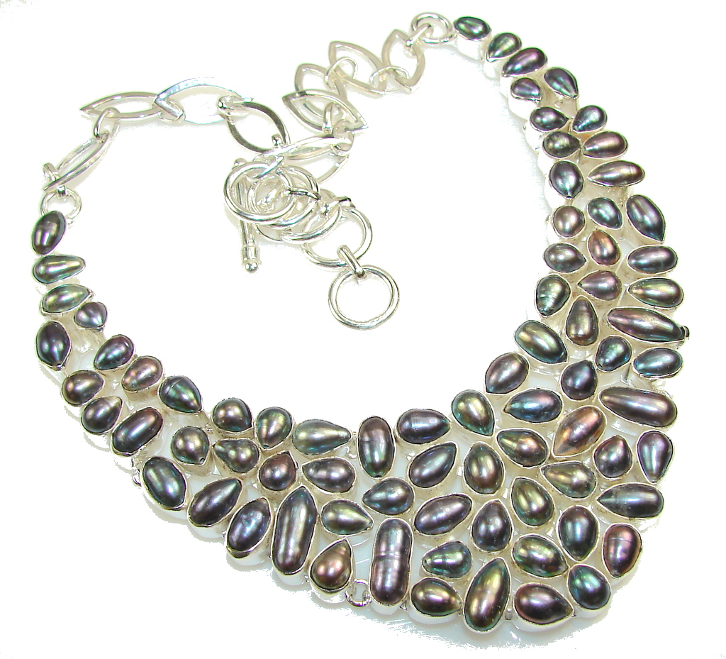 Fabulous Design!! Mother Of Pearl Sterling Silver necklace