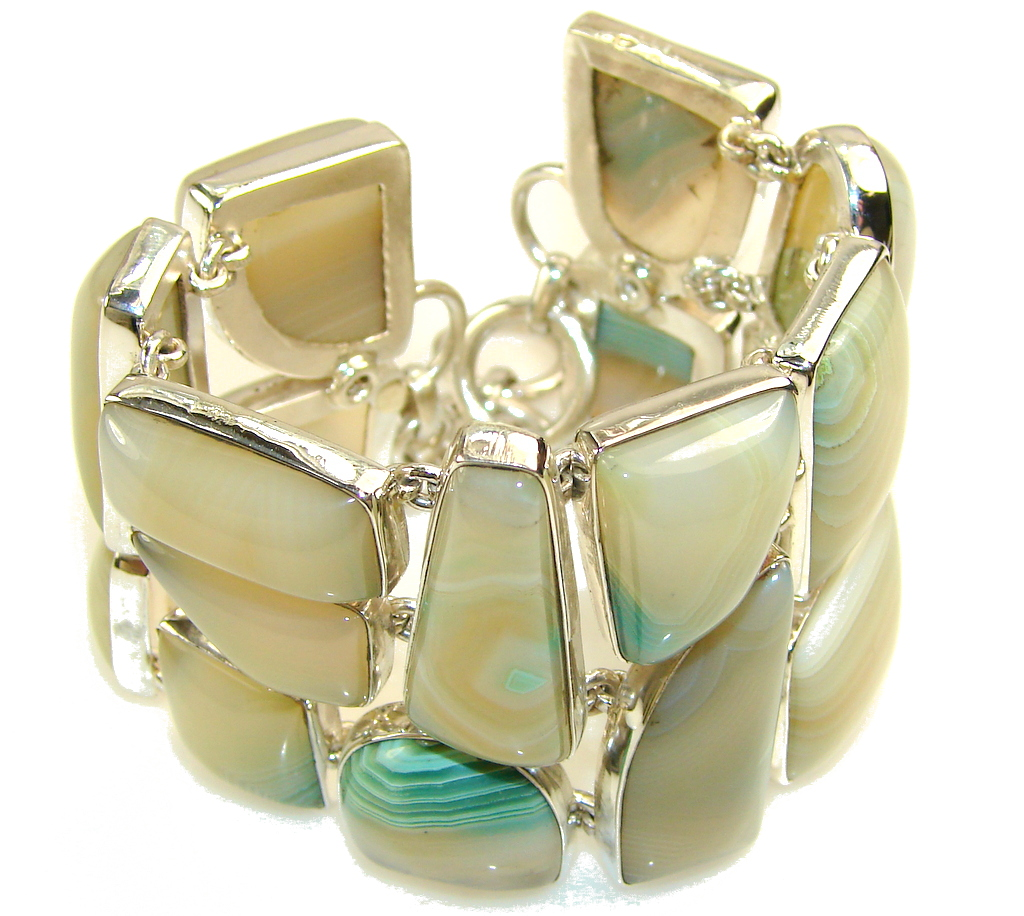Huge!! Fantastic Design!! Botswana Agate Sterling Silver Bracelet