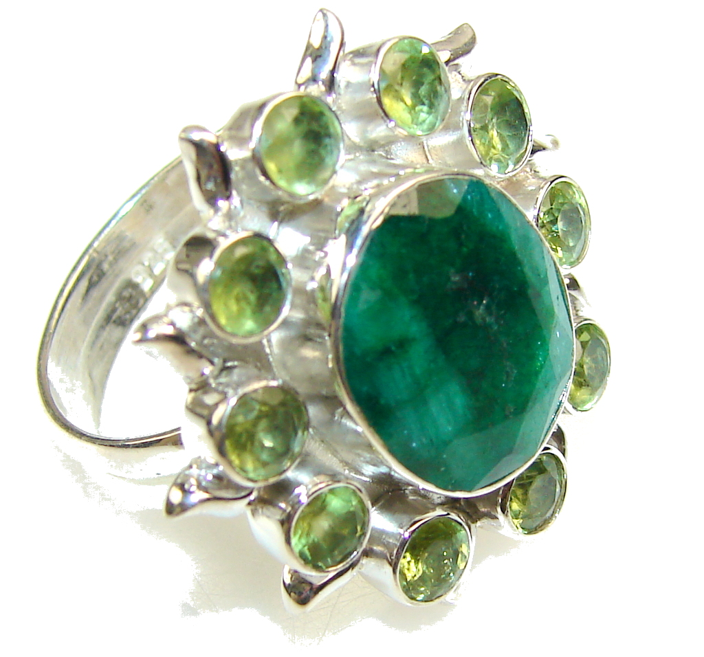 Natural Beauty!! Emerald Sterling Silver Ring s. 10