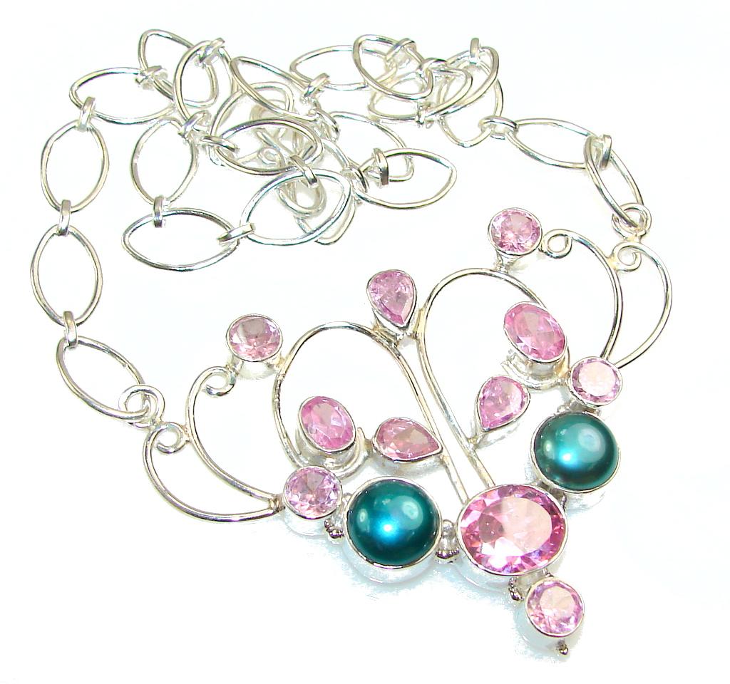 Best Friends!! Pink Quartz Sterling Silver necklace