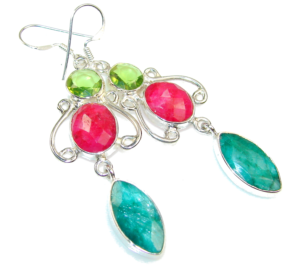 Party Green Emerald Sterling Silver earrings