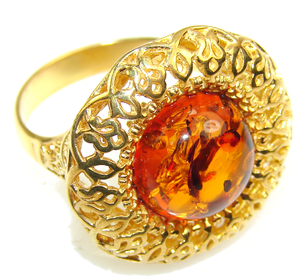 Beautiful 14ct. Gold Plated Polish Amber Sterling Silver Ring s. 9 1/4