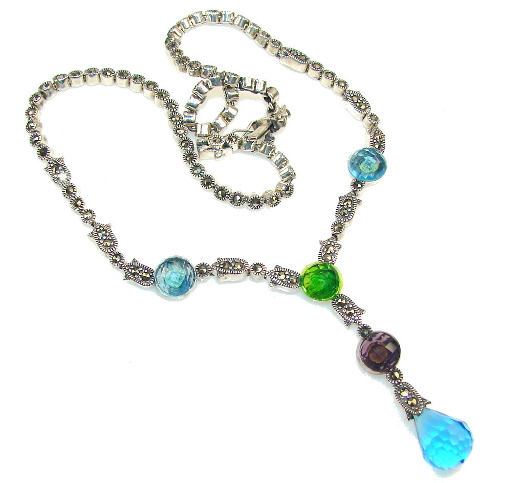 Touch Of Life!! Multicolor Quartz Sterling Silver necklace