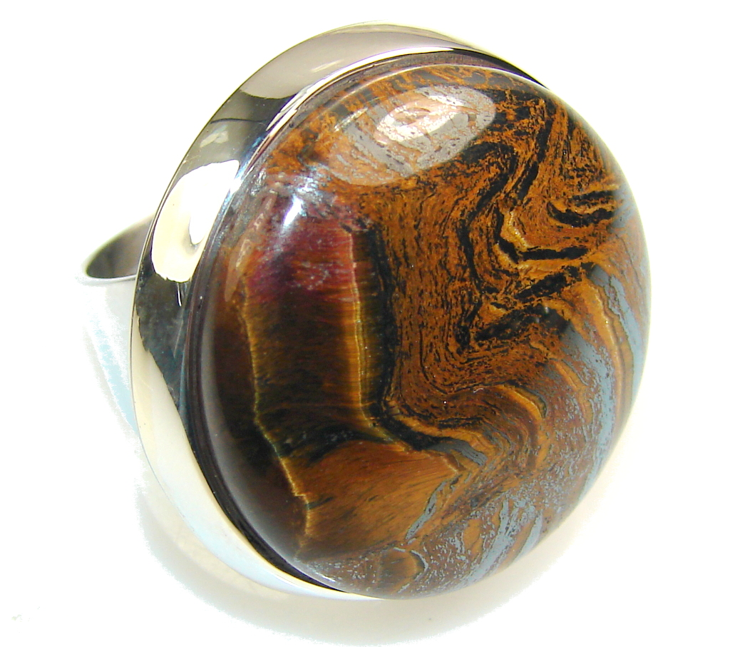 Image of Precious Golden Tigers Eye Sterling Silver Ring s. 5 1/2