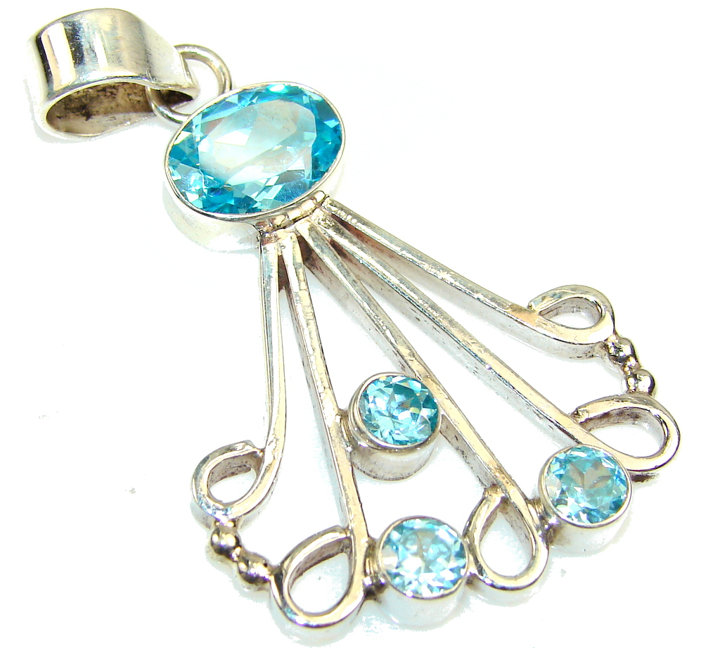 Image of Perfect Created Swiss Blue Topaz Sterling Silver Pendant