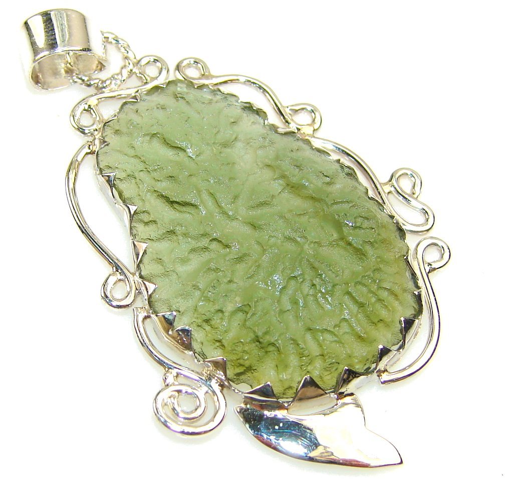 Image of Basics Green Moldavite Sterling Silver Pendant
