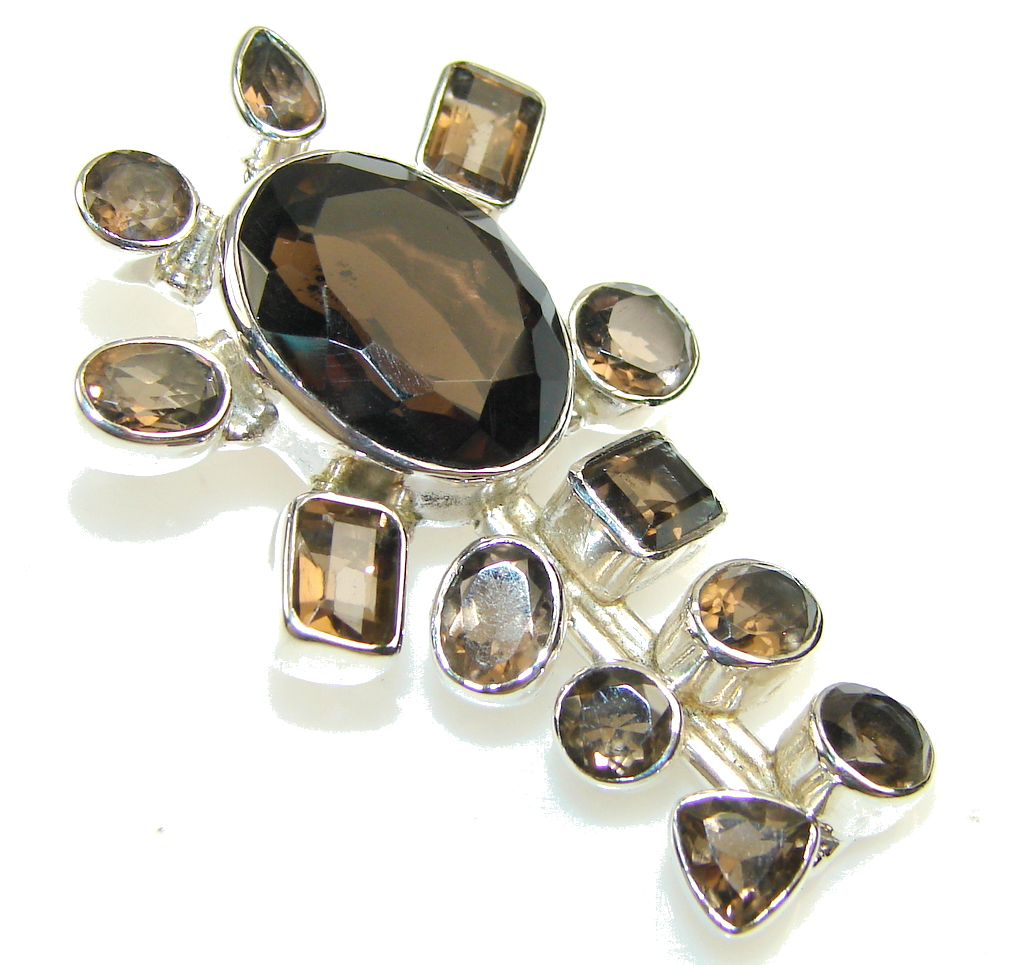 Image of Natural Smoky Topaz Sterling Silver Pendant