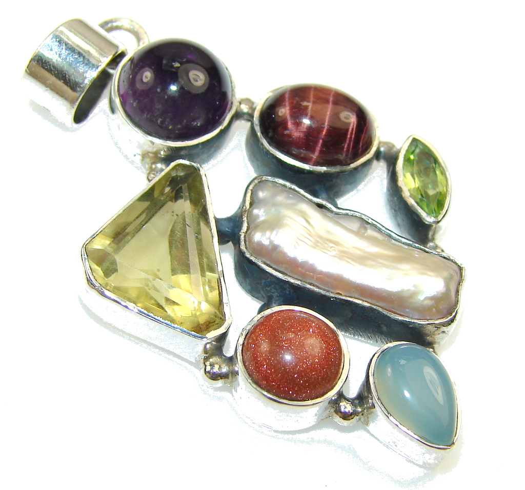 Wild Beauty!! Multistone Sterling Silver Pendant