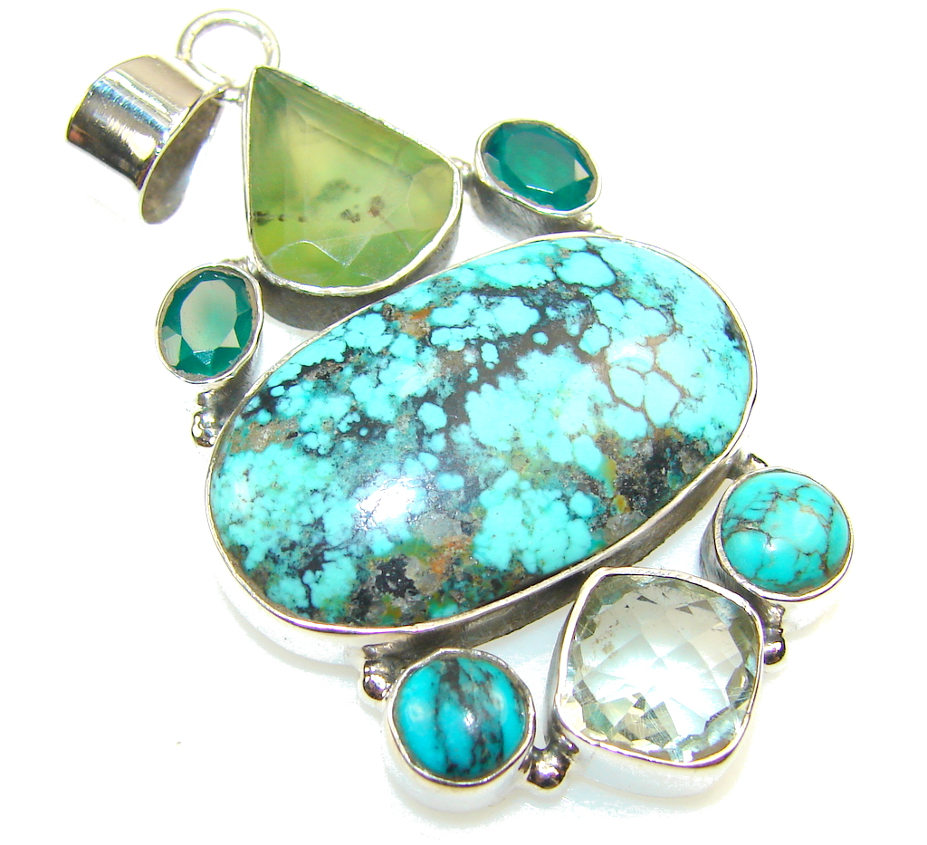 Image of Fantastic Green Turquoise Sterling Silver Pendant