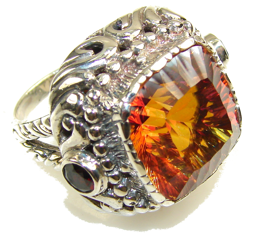 Awesome Color Changing Quartz Sterling Silver Ring s. 8