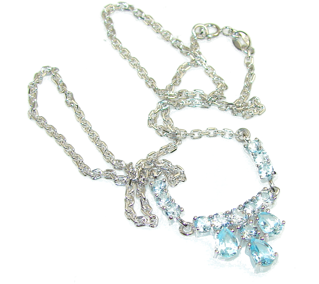 Amazing Light Swiss Blue Topaz Sterling Silver necklace