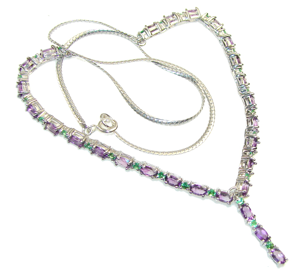 Touch Of Life!! Purple Amethyst Sterling Silver necklace