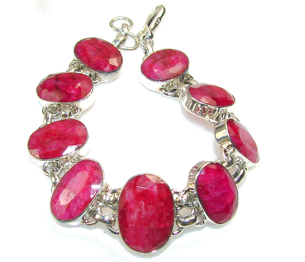 Aura Of Beauty!! Pink Ruby Sterling Silver Bracelet