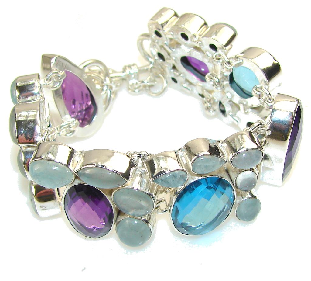 Joyous Sky!! Aquamarine Sterling Silver Bracelet