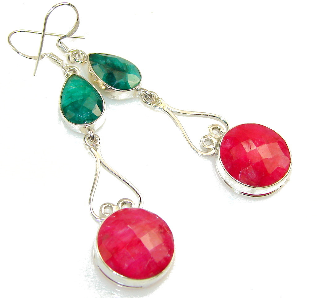Aura Of Beauty!! Pink Ruby Sterling Silver earrings