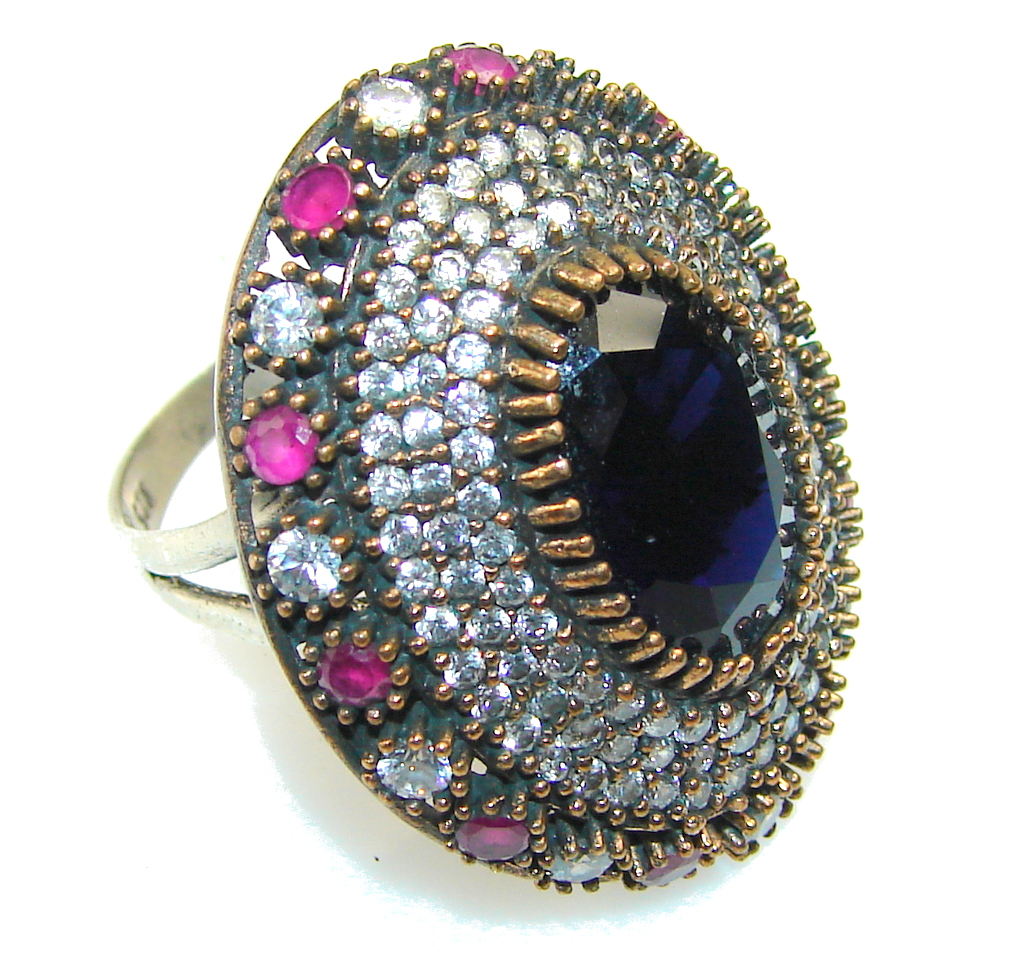 New Design!! Deep Sapphire Quartz Sterling Silver ring s. 7 1/2