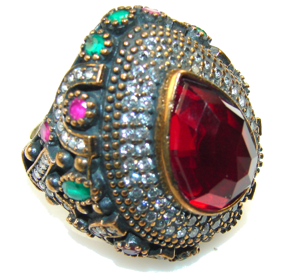 Touch Of Life!! Red Quartz Sterling Silver Ring s. 9 1/2